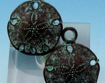 Sand Dollar Charm, Greek Casting, Green Patina, 16 MM,  2-Pc. M407