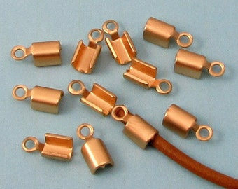Fold Over Crimp Cord End With Loop, 2 MM, Hamilton Gold, 12 Pieces AG319