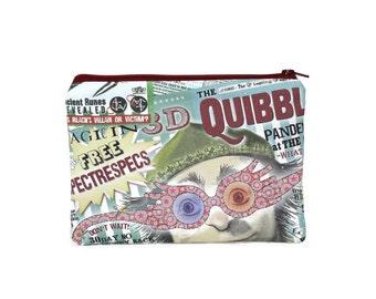 CHOOSE SIZE Harry Potter Quibbler Zipper Pouch / Luna Lovegood Spectrespecs / Make Up or Coin Pouch