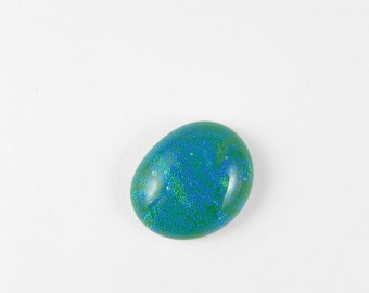 Dichroic Fused Glass Cabochon - Teal Green and Blue - 1734 - 19.5mm x 16mm