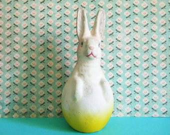 Antique Paper Mache Easter Bunny in Egg Candy Container Germany