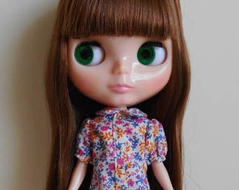 Flower puff sleeve blouse for Blythe doll