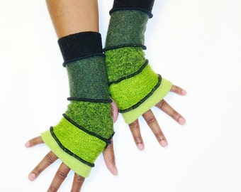 Fingerless Gloves, Armwarmers, (Chartreuse/Lime Green Mohair/Heather Green/Olive/Black) by BrendaAbdullah