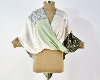 Silk Mobius Shawl/Patchwork Mobius Scarf/Boho/Spring Green/Poncho/Brenda Abdullah