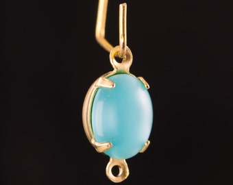 Vintage Light Blue Moonglow Oval Stones in 2 Loop Brass Setting ovl005S2