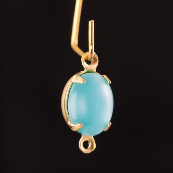 Vintage Blue Moonglow Oval Stones in 2 Loop Brass Setting ovl005S2