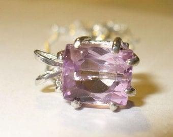 Natural Kunzite Pendant Necklace -  Genuine 3.9 Carat Gemstone in Solid Sterling Silver