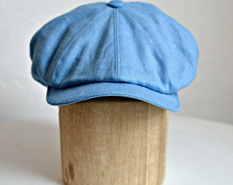 Men's Linen Newsboy Hat - Men's Newsboy Cap - Blue Linen Cap