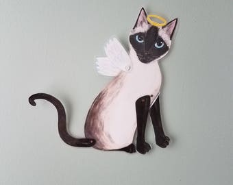 Siamese Cat ~ Cat Wall Art ~ Articulated Paper Doll ~ Paper Doll ~ Cat Memorial ~ Cat Painting ~ Cat Angel ~ Articulated Wings ~ Laminated