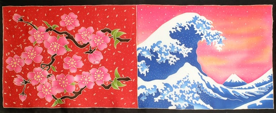 Silk scarf handpainted, Cherry blossom scarf, floral scarf, Japanese Wave scarf, Luxury scarf, Red scarf, Silk wrap, Wife scarf, Cute scarf