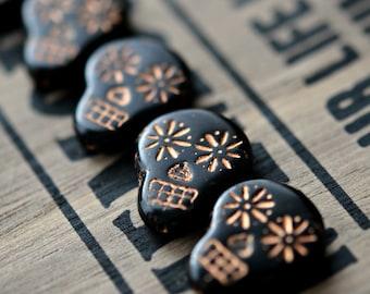 Haunted Faces - Czech Glass Beads, Opaque Jet Black, Metallic Dark Bronze Wash, Sugar Skulls 20x17mm - Pc 2