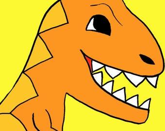 cute dinosaur  Art Print by Giraffes and Robots