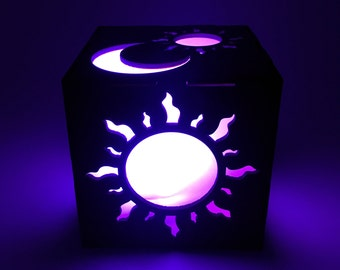 Sun and Moon, Light Box, Wood Lantern, Sun Lantern, Candle Box, Moon Lantern, LED Lantern, Moon Lamp, Sun Lamp, Home Decor, Sun Nightlight