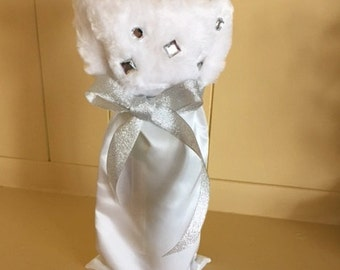 White Faux Fur and Rhinestone Wine Wrap/Wine Bag for Winter gifts