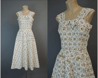 Vintage 1950s Sundress, fits 33 inch bust, Novelty Print Cotton Dress, A-line Skirt