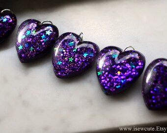 Resin Jewelry, Amethyst Pendant, Glitter Heart, Dark Lavender Heart, Purple Stars Glitter Heart Resin Pendant Necklace, Handmade by isewcute