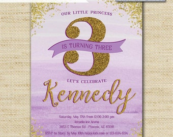 Princess Birthday Invitations, Gold Glitter Invites, Girls and Tween Birthday, Printed Eco Cards or DIY Printable, FREE SHIPPING, PI_01