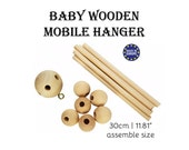 1 x Baby Wooden Mobile Hanger. 30cm natural wood unfinished mobile decor. hanging nursery decor. 30mm center ball. european made #120027