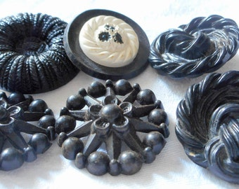 Lot of 6 VINTAGE Black Plastic Sewing BUTTONS