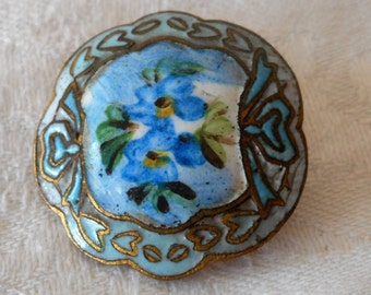 ANTIQUE Blue Violet Flower Scallop Edge White & Blue Enamel BUTTON