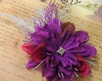 evening shimmer winter faerie barrette- purple & silver flower hair clip