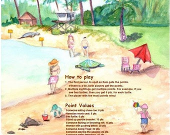 beach game - poipu beach bingo - poipu beach kauai - games - printable - instant download - pdf - diy - print it yourself - funny games
