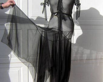 Vintage 20s/30s Dress Scandalous Black Sheer Silk Chiffon Beauty with Flowing Handkerchief Hem & Dropped Flapper Waist - Small