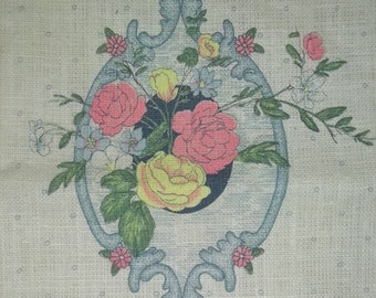 Vintage Victorian Rose Pure Linen Tea Towel NOS with Tag #1