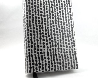 Paperback Book Cover - Reusable, Protective and Adjustable - Small Mass Market Size - Stylish Book Cover with Black Dot Design On Cream