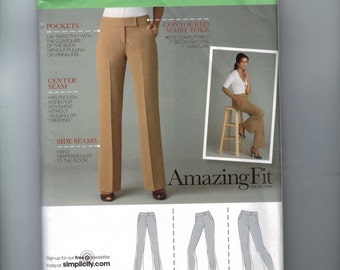 Misses Sewing Pattern Simplicity 2700 Perfect Fit Pants Creased Slim Average Curvy Khaki Slacks Misses and Petite Size 14 16 18 20 22 UNCUT
