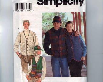 Misses Sewing Pattern Simplicity 9770 Unisex Mens Misses Quilted Vest Hat Cap Hunting Size XS S M L XL Chest Bust 30-40 or 42-48 UNCUT