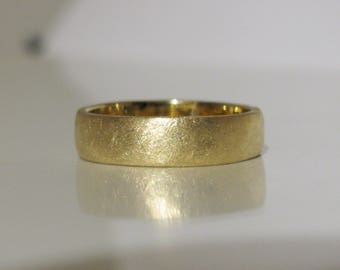 Special Finish 6mm Man's Wedding Band Handmade Hand Forged Solid 18K or 22K Gold Comfort Fit