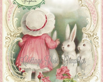 Vintage Easter Bunnies Add Your Own text digital download ECS buy 3 get one free romantic cottage single image svfteam