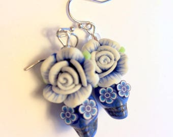 Sugar Skull Earrings Day of the Dead Earrings in Royal Blue and White