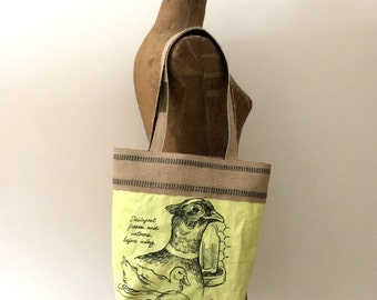 Upcycled Gamebird Feed Bag Tote with Natural Jute Webbing Trim, OOAK, Made in Maine