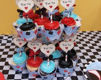 Alice Eat Me Deluxe Scallop Heart Straw Cupcake Toppers w/ribbons  - Red Sparkle Hearts - Set of 12 - Tea Party Alice Mad Hatter