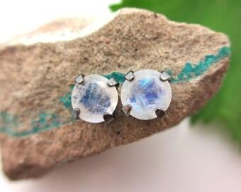 Black Silver Blue Moonstone Stud Earrings, 6mm