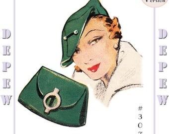 Vintage Sewing Pattern 1930s Beret Hat & Bag Depew #3071 -PAPER VERSION-