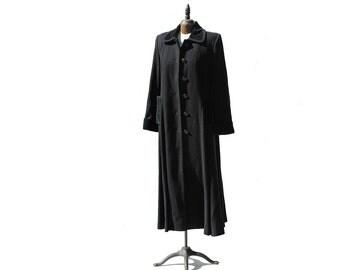 Vintage Black Wool Oversized Long wool Swing Coat