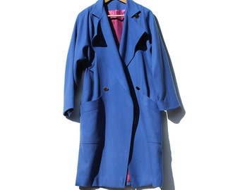 Vintage Chicago Blue Oversized Wool Trench Coat