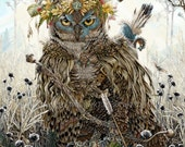 Owl Decor - Owl Art - Great Horned Owl - Owl Wall Art - Woodland Cottage - Cottage Art - Farmhouse Decor - Country Cottage Decor