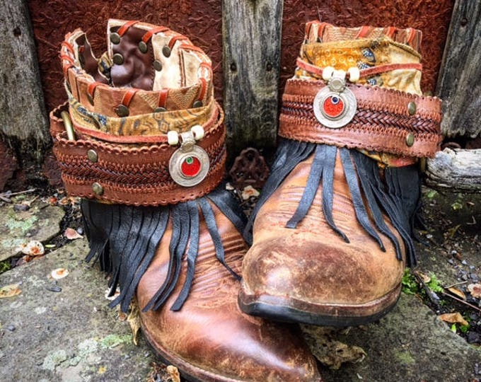 Luxury BOHEMIA Festival Boots ~ Custom Reworked Bohemian Gypsy Indie Boots, size US 8M ~ Ready to Ship