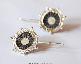 black & white earrings horsehair chile