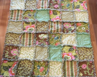 Baby Rag Quilt Amy Butler Gypsy Caravan Ready to Ship Reversible Quilt 39 x 39