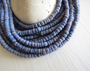 Small coconut beads , purple blue lavender, rondelles discs spacer , exotic boho coconut heishi 1.5 to 3 x 5mm (14 inch strand) 6cb18-1
