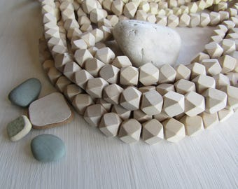 White faceted cube wood beads ,  beige cream tone , geometric , Philippines, Natural exotic 11 to 12mm x 12 to 13mm ( 20 beads  ) 6PH27
