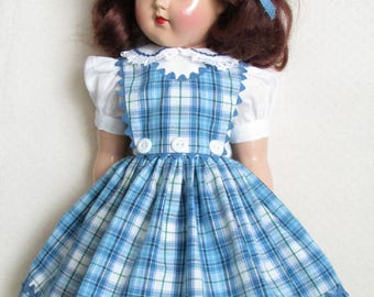 """For 21"""" P-93 Ideal Toni, Blue Plaid Three Button Jumper Dress, Inspired by Original"""