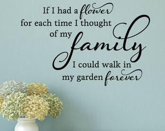 Wall Quote Decal Every Time I Think Of Family Flower Home Love Vinyl Decal Garden Mom Mother's Day