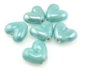 Light Aqua Heart Beads 20mm x 18mm Ceramic Heart Beads Light Teal Blue Beads for Jewelry Making Valentine's Day Pottery Boho Beads Bohemian