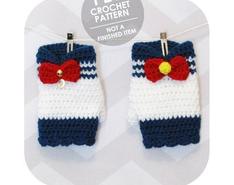 crochet pattern - sailor moon inspired gloves/mittens - halloween costume cosplay - kawaii cute anime